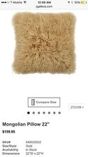 Z GALLERIE  100% Mongolian Sheepskin  pillow 22""