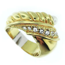 Ladies Small Pearl 18kt Gold Plated CZ Stones Ring Size 6