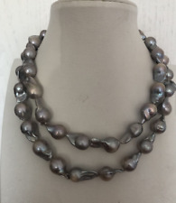 """stunning 15-18mm tahitian baroque grey pearl necklace 38"""""""