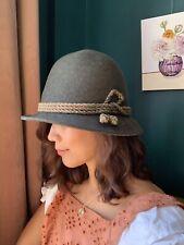 Vintage ANTON PICHLER Green Cloche Hat Art Deco 1920's Style