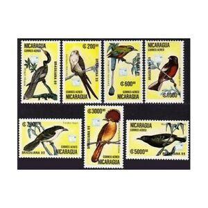 Nicaragua C1172-C1179,MNH.Michel 2943-2949,Bl.184. BRASILIANA-1989,Birds.Parrots