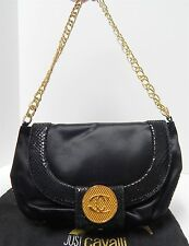 Just Cavalli Italy Black Satin Leather Gold Chain Shoulder Bag