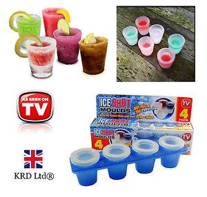 4 Pack Ice Shot Glasses - Plastic Frozen Ice Shot Glass Mould Cube Maker Set