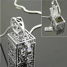Argent Collier Boîte Charmes Pendentif Bijoux Rétro Vintage Cadeau de Noë lc