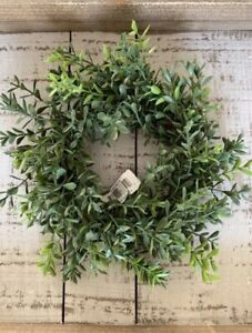 "New England Boxwood Candle Ring Wreath - Faux  7"" Farmhouse Decor"
