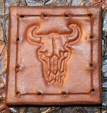 "Leather patch - 1.75"" x 1.75""  Buffalo Skull - sew on handmade in USA bushcraft"