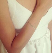 Women Girl Simple Style Nice Handmade Pearl Bead Gold Chain Bracelet Bangle BUAU