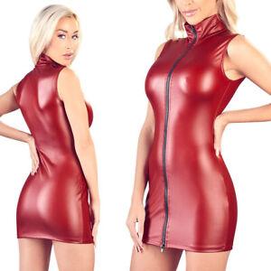 """Sexy Mini-Kleid S M L XL Zip Matt-Look Kragen Ärmellos Damen Party """"Katniss"""" A23"""