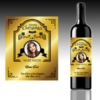 2 X PERSONALISED WINE BOTTLE LABELS | YOUR PHOTO | YOUR TEXT | CHRISTMAS PARTY