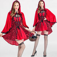 Womens Sexy Fancy Dress Adult Cosplay Halloween Costume Red Cap Suit Princess