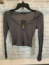 NWT Women Cropped Long Sleeve Tee M Scoop Neck Casual Clothes Fashion Nova Gray