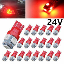 20PCS Red Auto T10 5SMD 5050 Automotive LED Light W5W 192 168 194 5050 24V Bulbs