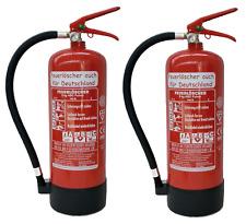 2 x 6 kg Feuerloescher EN3 ABC Pulver + Manometer + Standfuß + Wandhalterung 9LE