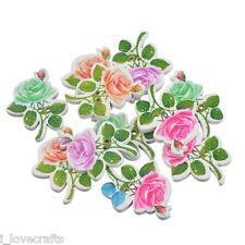 30 Pz Bottoni Misti In Legno Forma Di Rosa Con 2 Fori 2.9x2.3cm B98989