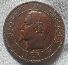Monnaie pièce bronze napoleon module 10 centimes 1854 chambre commerce Lille