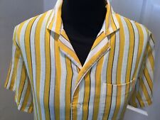 SUPERB VINTAGE CACHAREL LINEN STRIPE YELLOW SHIRT, UK 10 WORN ONCE