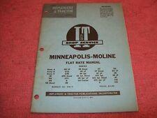 Vintage 1959 Minneapolis Moline Iampt Flat Rate Shop Manual Mm 9 Avery R Ub Za Zt