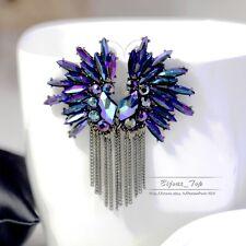 Boucles d`Oreilles Clips Bleu Extravagant Tassel FIL Original Amerindien CC 4
