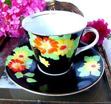 Antique Art Deco Hand Painted Orange Flower Black Teacup and Saucer c1920s