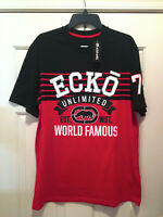 ECKO UNLTD Men's T Shirt BLACK RED Graphic Rhino Logo Stripes Hip Hop Rap NWT L