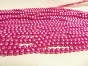 100+ pcs x Glass Pearl 8mm Round Beads: #91A Mid Cerise