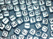 50pc 6mm cubitos plateado cuentas letras del alfabeto vocal bag