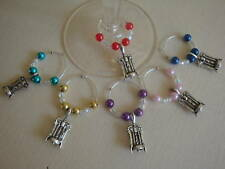 WINE GLASS RINGS coloured beads & Corkscrew Charm