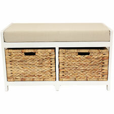 HOME/HALLWAY/BATHROOM BENCH/SEAT WITH SEAGRASS WICKER STORAGE BASKETS & CUSHION