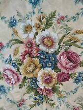 More details for vintage curtains fabric sanderson floral bouquets cabbage rose linen