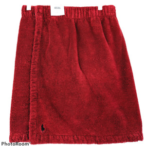 Ralph Lauren Mens Bath Wrap Towel Maroon Red Pony Logo Terry Cloth Hook Loop