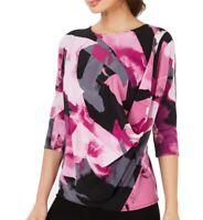 Alfani Womens Blouse Purple Black Size Small S Printed Drape-Side $64- 503