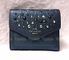 Coach 59510 Star Rivets Leather Trifold Small Wallet METALLIC BLUE NWT RARE!!