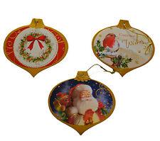 30 Luxury Christmas Foiled Gift Tags Xmas Wrap Labels Santa ,Robin & Wreath