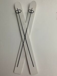 Decorative Wooden Skis With Poles Hanging Wall Decor