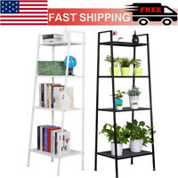 4-Tier Durable Bookcases Leaning Wall Book Shelf Shelving Ladder Storage Rack US