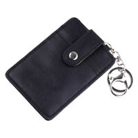 Black ID Badge Credit Card Holder Pocket Case With Keychain Key Ring PU Leather