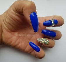 12 Hand Painted False Nails - Royal Blue Diamante 3D Full Cover Gel Nails Tip