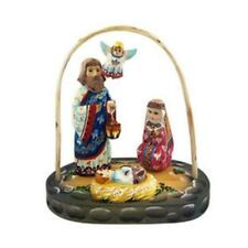 """Hand Carved Hand Painted Wooden Nativity of Christ Set With Angel 7"""""""