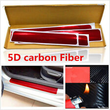 4 Pcs 5D Carbon Fiber Car Scuff Plate Door Sill Cover Panel Step Protector Red