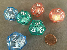 New Set of 6 Double Dice D12 Rpg Game Math Twelve Sided 25mm 12 Mixed Colors