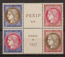 Yvert 348/351** Mnh  Exposición París   Hoja bloque  1937  CERTIFICADO NL1204