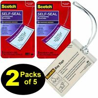 Scotch Bag Tags LS853-5G, Self Laminating Luggage Tags With Loops, 2 Packs of 5