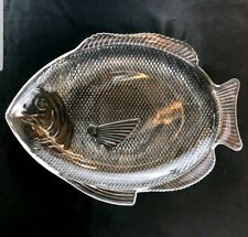 Fish Shaped Seafood Serving Platter Vintage Clear Glass Dish Oven Proof X-Large