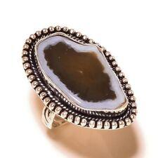 Botswana Agate Gemstone silver plated Handmade Statement Designer Ring US-9