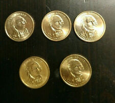 5 (five) John Adams Presidential Dollar 2007-D $1 Gold Coins Circulated Ungraded