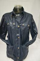 Ladies WHISTLES Dark Blue Wax Style Jacket (Military Feel) Size UK 10 Lot CT20
