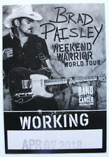 BRAD PAISLEY ~ Backstage Pass WEEKEND WARRIOR WORLD TOUR - Soft Patch Unpeeled