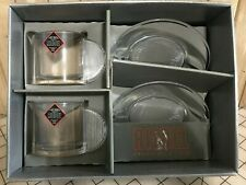Riedel Cappuccino Set  2 Cups  2 Saucers Crystal Glasses Coffee Mugs  NEW Discon
