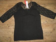 Sexy Shirt von Sheego  Figurschmeichler Gr. 40 / 42 schwarz Spitze NEU A10-031-1