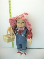 "Vintage Mattel Blonde Hair Tiny Chatty Baby 14"" Doll cute jeans picnic basket"